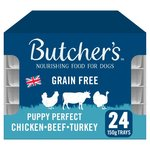 Butchers Puppy Perfect Dog Food Trays Chicken Turkey Beef 24 x 150g
