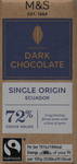 Clearance Line Marks and Spencer Ecuador 72% Dark Chocolate 30g