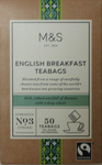 Clearance Line Marks and Spencer English Breakfast 50 Teabags **SOME BOX DAMAGE PRODUCT FNE**