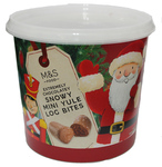 Clearance Line Marks and Spencer Extremely Chocolatey Snowy Mini Yule Log Bites 275g tub **DATED 19/12/19**