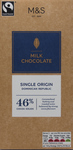 Clearance Line Marks and Spencer Single Origin Dominican Republic 46% Milk Chocolate Block 100g