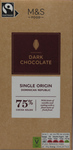 Clearance Line Marks and Spencer Single Origin Dominican Republic 75% Dark Chocolate Block 100g