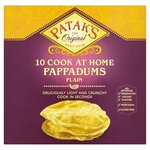 Clearance Line Pataks 10 Pappadums Plain Ready to Cook 100g