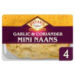 Clearance Line Pataks Naans Garlic and Coriander Mini 4 Pack ***EXPIRY 26TH JUNE 2021***