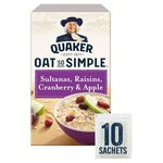 Clearance Line Quaker Oat So Simple Apple Sultana Raisin Cranberry 385g 10 Sachets