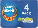 Clearance Line Sainsburys Baked Beans In Tomato Sauce 4x400g