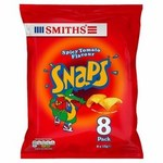 Clearance Line Smiths Snaps Spicy Tomato Snacks 8 x 13g