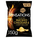 Clearance Line Walkers Sensations Hickory Smoked Cheddar and Crispy Bacon Crisps 150g ***EXP 4th DEC 2021***