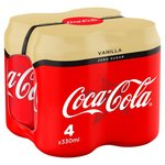 Coca Cola Zero Sugar Vanilla 4 x 330ml Cans