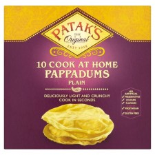 Pataks 10 Pappadums Plain Ready to Cook 100g