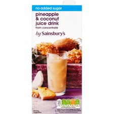 Sainsburys Pineapple and Coconut Juice Drink No Added Sugar 1l carton