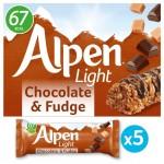 Alpen Light Chocolate and Fudge Cereal Bar 5x21g