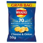 Retail Pack Walkers Grab Bag Cheese and Onion Crisps 32 x 45g Pack Box