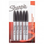 Sharpie Permanent Marker Black Fine 5 Pack