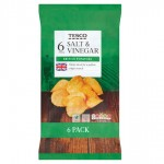 Tesco Salt And Vinegar Crisps 6 Pack
