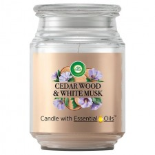 Airwick Jar Candle Cedar Wood and White Musk 480g
