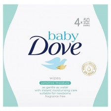 Baby Dove Sensitive Moisture Fragrance Free Baby Wipes 4 x 50 Pack
