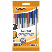 Bic Crystal Ball Pens Assorted Colours 10 Pack