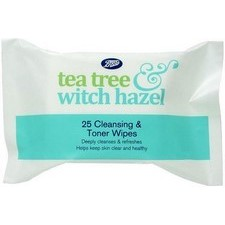 Boots Tea Tree and Witch Hazel Cleansing and Toning Wipes 25s