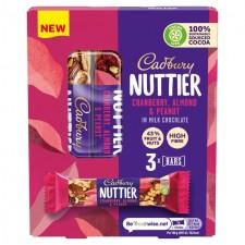 Cadbury Nuttier Almond And Cranberry Bar 3 Pack 120g