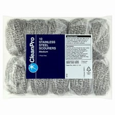 Clean Pro Stainless Medium Steel Scourers 10 Pack