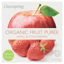 Clearspring Organic Apple and Strawberry Puree 2 X 100g
