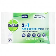 Dettol 2in1 Antibacterial Wipes for Hands and Surfaces 15 per pack