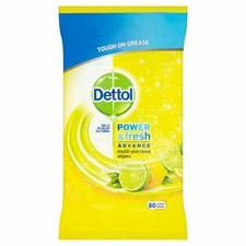 Dettol Power and Fresh Citrus Zest Wipes 80 Pack