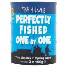 Fish 4 Ever Pole and Line Skipjack Tuna Steaks in Spring Water 3 x 160g