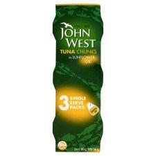John West Tuna Chunks in Sunflower Oil 3 x 80g