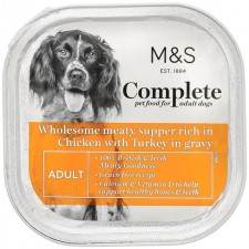 Marks and Spencer Complete Wholesome Meaty Supper Rich in Chicken with Turkey in Gravy Dog Food 300g