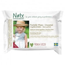 Naty Eco Flushable Wipes Unscented 42 per pack