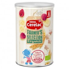 Nestle Cerelac Farmers Selection Organic Wheat Raspberry and Banana Cereal Snack 35g