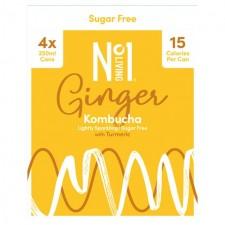 No.1 Living Sugar Free Kombucha Ginger with Turmeric 4 x 250ml