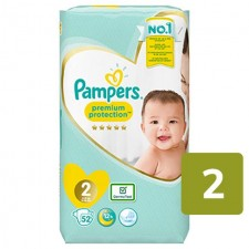 Pampers Premium Protection Nappies New Baby Size 2 x 52