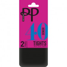 Pretty Polly 40 Denier Opaque Tights Black Extra Large