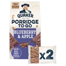 Quaker Porridge To Go Squares Blueberry and Apple 2 x 55g