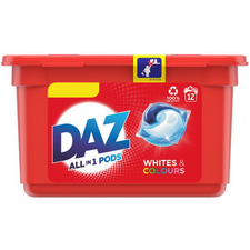 Retail Pack Daz All In 1 Pods Bio Whites and Colours 12 Washes x 6 Tubs