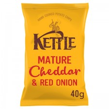Retail Pack Kettle Chips Mature Cheddar and Red Onion 18 x 40g Box