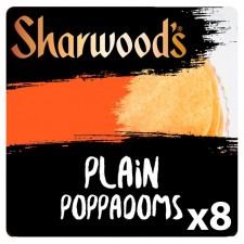 Retail Pack Sharwoods 8 Plain Poppadoms Ready To Eat x5
