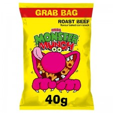 Retail Pack Walkers Mega Monster Munch Grab Pack Roast Beef 30 x 40g Box