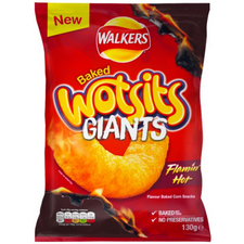 Retail Pack Walkers Wotsits Giants Flamin Hot Corn Puffs 9 x 130g