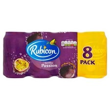 Rubicon Passion Fruit Sparkling Drink 8 X 330ml Cans