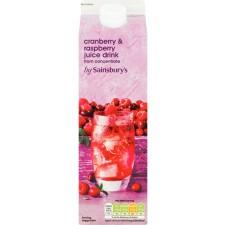 Sainsburys Cranberry and Raspberry Juice Drink 1L Carton