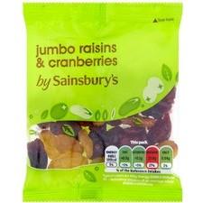 Sainsburys Jumbo Raisins and Cranberries 35g