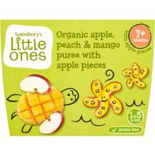 Sainsburys Little Ones Organic Apple Peach and Mango Puree 7mth+ (4x100g)