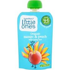 Sainsburys Little Ones Organic Mango and Peach Smooth Puree 4mth+ 100g