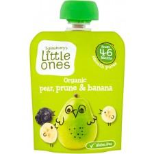 Sainsburys Little Ones Organic Pear Prune and Banana Smooth Puree 4mth+ 70g