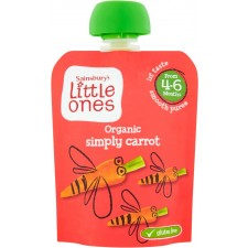 Sainsburys Little Ones Organic Simply Carrot Smooth Puree 4mth+ 70g