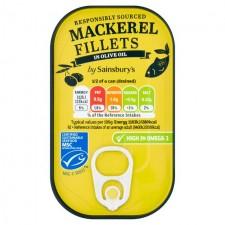 Sainsburys Mackerel Fillets in Olive Oil 125g